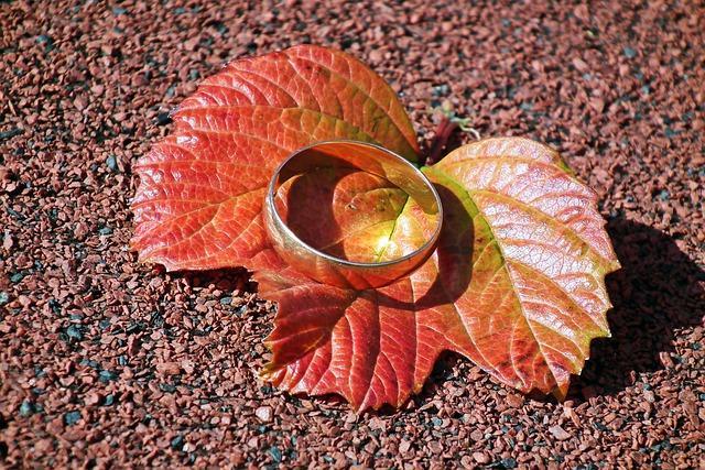 Обручальное кольцо на листе
